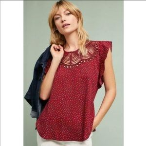 Anthropologie Ranna Gill Cutwork Floral Top Blouse